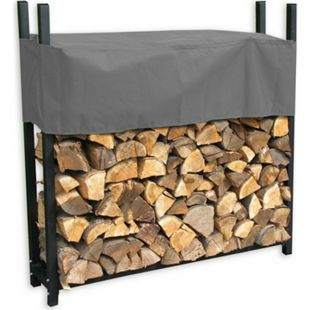 Grasekamp Metall Kaminholzregal 120 x 25 x 120 cm  0,5 RM mit Schutzhülle Grau Holzregal  Kaminholzunterstand Stapelhilfe - Bild 1