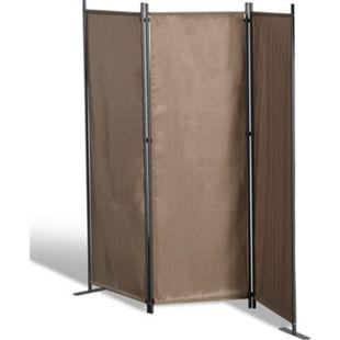Grasekamp Stellwand 165x170 cm dreiteilig - taupe  -  Paravent Raumteiler Trennwand  Sichtschutz - Bild 1