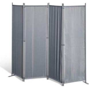 Grasekamp Paravent 4 teilig Grau Raumteiler  Trennwand Sichtschutz Balkontrennung - Bild 1