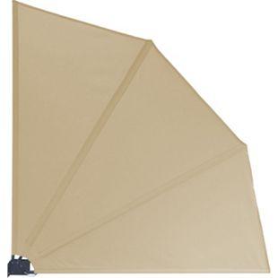 Grasekamp Balkonfächer Premium 140x140cm Sand mit  Wandhalterung Trennwand Sichtschutz - Bild 1