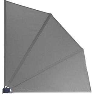 Grasekamp Balkonfächer Premium 140x140cm Grau mit  Wandhalterung Trennwand Sichtschutz - Bild 1