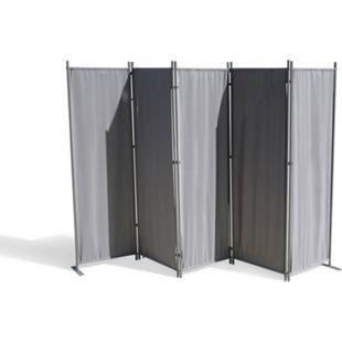 Grasekamp Paravent 5 teilig Grau 268 x 167 cm  Raumteiler Trennwand Sichtschutz - Bild 1