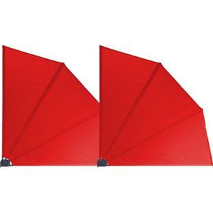 Grasekamp 2 Stück Balkonfächer 120 x 120 cm Rot  mit Wandhalterung Trennwand Sichtschutz - Bild 1