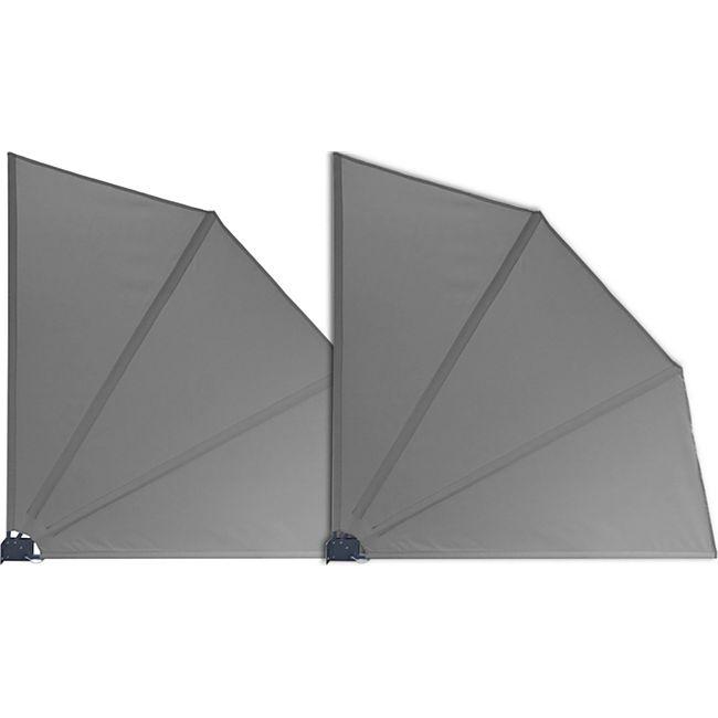 Grasekamp 2 Stück Balkonfächer Grau Premium  140 x 140 cm mit Wandhalterung Trennwand  Sichtschutz - Bild 1