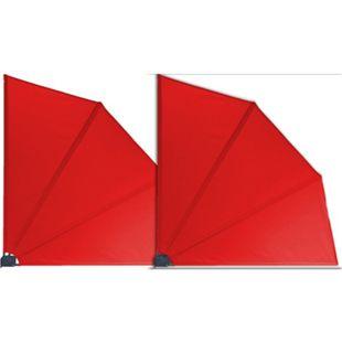 Grasekamp 2 Stück Balkonfächer Rot Premium  140 x 140 cm mit Wandhalterung Trennwand  Sichtschutz - Bild 1