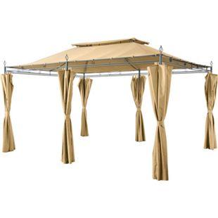 Grasekamp Garten-Pavillon Inca 3x4m Beige mit  Seitenteil Sets geschlossen Party-Zelt  Terrassen-Dach - Bild 1