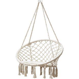 Grasekamp Hängesessel zum Aufhängen mit rundem  Sitzkissen Beige Belastbarkeit max. 100  kg Schwebesessel - Bild 1