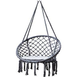 Grasekamp Hängesessel zum Aufhängen mit rundem  Sitzkissen Grau Belastbarkeit max. 100  kg Schwebesessel - Bild 1