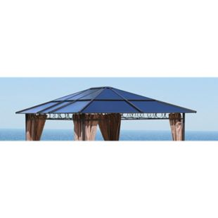 Grasekamp Ersatzdach Hardtop Pavillon 3x3,6m  Doppelstegplatten Polycarbonat Braun - Bild 1