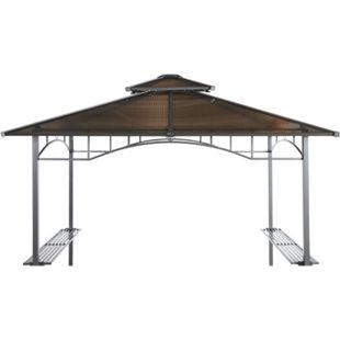 Grasekamp Ersatzdach Hardtop BBQ Pavillon 1,5x2,4m  Doppelstegplatten Polycarbonat Braun - Bild 1