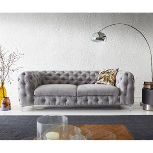 Sofa Corleone Grau 225x97 cm 3-Sitzer Couch - Bild 1