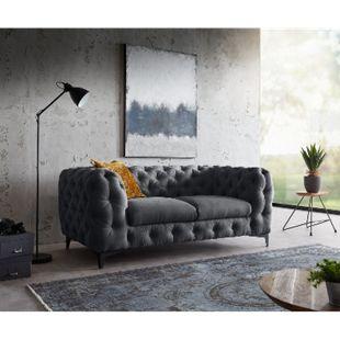 Sofa Corleone Graphite 185x97 cm 2-Sitzer Couch - Bild 1
