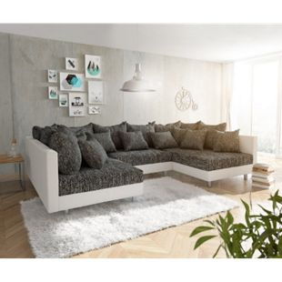 Couch Clovis Weiss Schwarz Wohnlandschaft Modulares Sofa - Bild 1