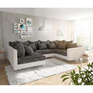 Couch Clovis Weiss Schwarz mit Armlehne Wohnlandschaft - Bild 1