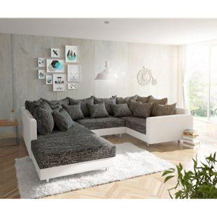 Couch Clovis Weiss Schwarz mit Hocker und Armlehne Wohnlandschaft - Bild 1