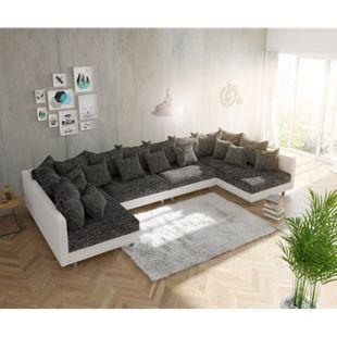 Couch Clovis XL Weiss Schwarz Wohnlandschaft Modulsofa - Bild 1