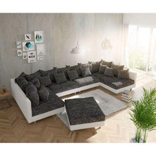 Couch Clovis XL Weiss Schwarz mit Hocker Wohnlandschaft Modulsofa - Bild 1