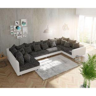 Couch Clovis XL Weiss Schwarz mit Armlehne Wohnlandschaft Modulsofa - Bild 1