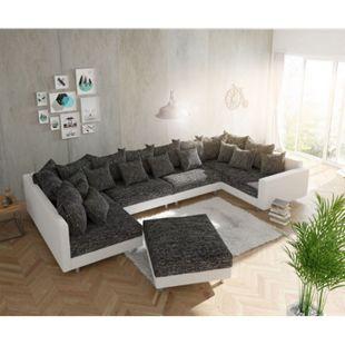 Couch Clovis XL Weiss Schwarz Modulsofa Hocker Armlehne Wohnlandschaft modular - Bild 1