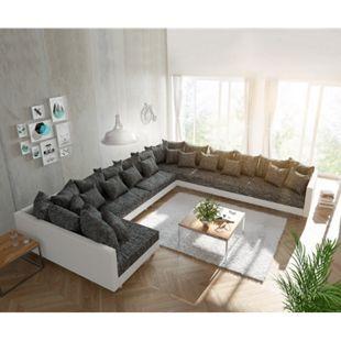 Couch Clovis XXL Weiss Schwarz Ottomane Rechts Wohnlandschaft - Bild 1