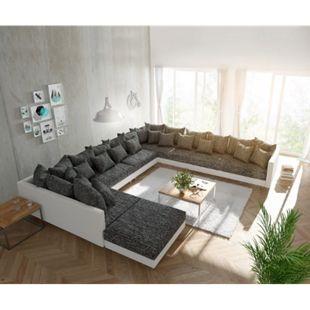 Couch Clovis XXL Weiss Schwarz mit Hocker Ottomane Rechts Wohnlandschaft - Bild 1