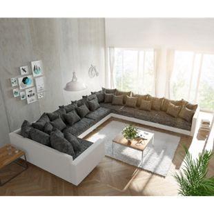 Couch Clovis XXL Weiss Schwarz mit Armlehne Ottomane Rechts Wohnlandschaft - Bild 1