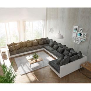 Couch Clovis XXL Weiss Schwarz Ottomane Links Wohnlandschaft - Bild 1