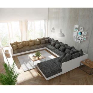 Couch Clovis XXL Weiss Schwarz mit Hocker Ottomane Links Wohnlandschaft - Bild 1