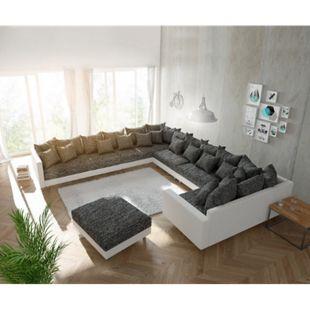 Couch Clovis XXL Weiss Schwarz mit Hocker und Armlehne Ottomane Links Wohnlandschaft - Bild 1