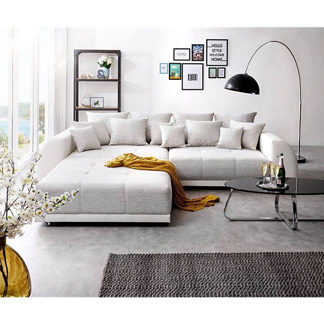 Bigsofa Violetta Hellgrau Creme 310x135 cm inklusive Hocker und Kissen Big Sofa - Bild 1