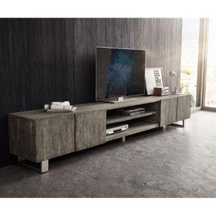 Fernsehtisch Live-Edge Akazie Platin 300 cm 4 Türen 2 Fächer Baumkante Lowboard - Bild 1