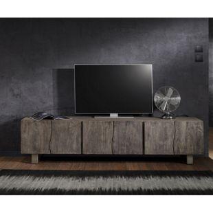 Fernsehtisch Live-Edge Akazie Platin 220 cm 6 Türen Massivholz Baumkante Lowboard - Bild 1