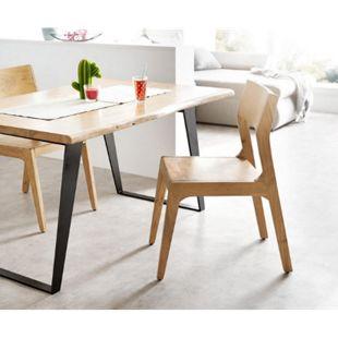 Stuhl Live-Edge Akazie Natur Massivholz mit Rückenlehne Esszimmerstuhl - Bild 1