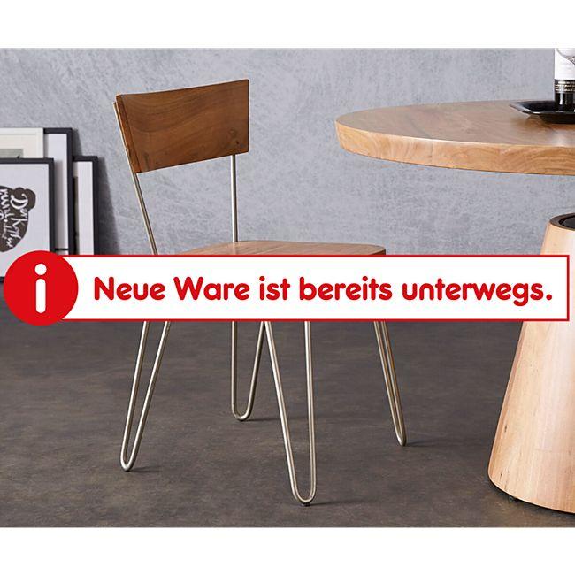 Küchenstuhl Veruca Akazie Natur Massivholz Metallgestell Silber Esszimmerstuhl - Bild 1