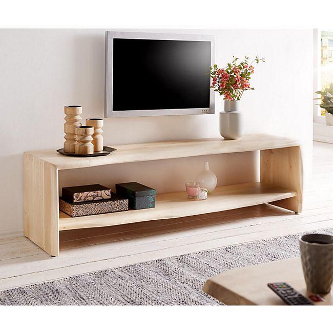 Fernsehtisch Live-Edge Akazie Gebleicht 165 cm mit Fach Baumkante Lowboard - Bild 1
