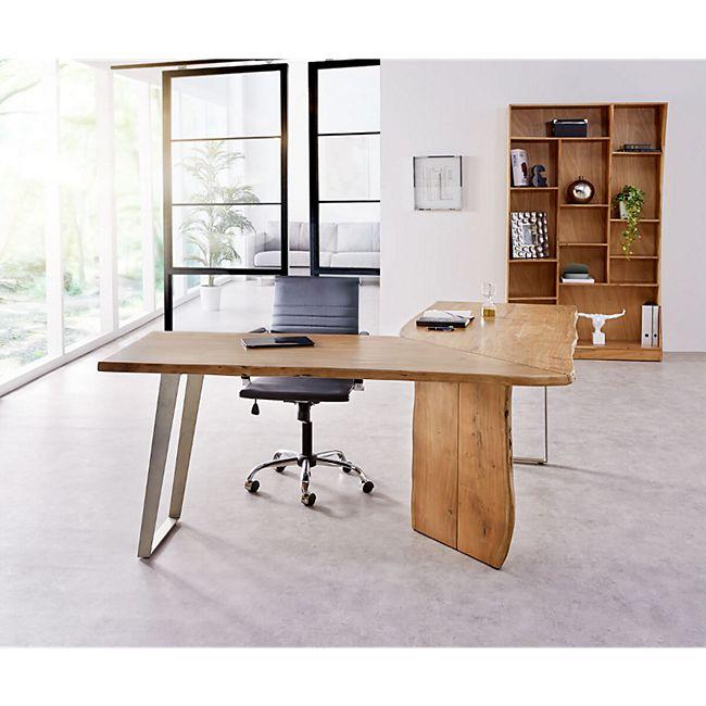 Bürotisch Live-Edge Akazie Natur 170x170 Gestell Silber Baumkante Schreibtisch - Bild 1