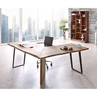 Bürotisch Live-Edge Akazie Braun 170x170 Gestell Schwarz Baumkante Schreibtisch - Bild 1