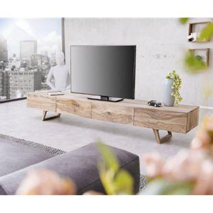 Fernsehtisch Wyatt Sheesham Natur 220 cm 4 Schubladen Design Lowboard - Bild 1