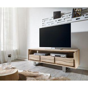 Fernsehtisch Live-Edge Akazie Champagner 146 cm 3 Schübe Baumkante Lowboard - Bild 1
