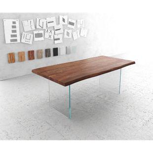 Massivholztisch Live-Edge Akazie Braun 200x100 Platte 5,5 cm Glasbeine Baumtisch - Bild 1