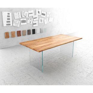 Massivholztisch Live-Edge Akazie Natur 200x100 Platte 3,5 cm Glasbeine Baumtisch - Bild 1