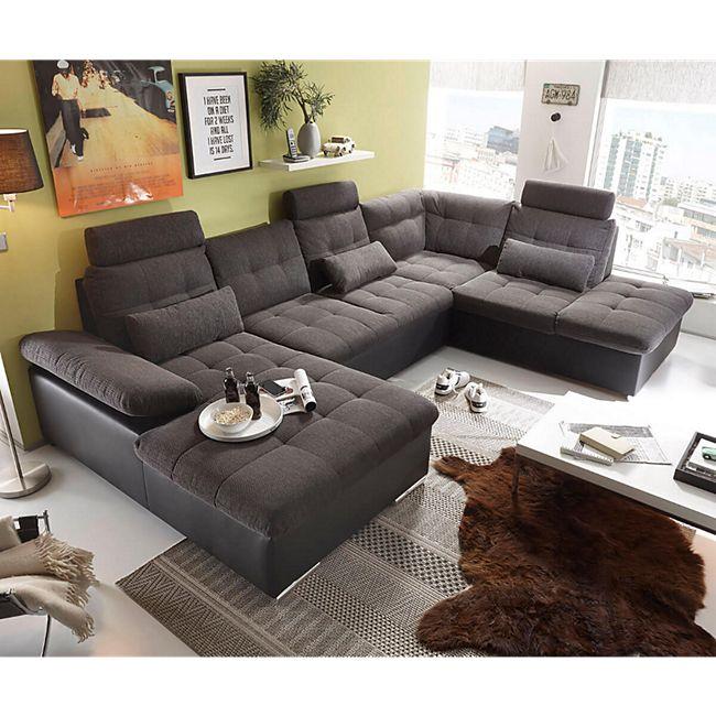 Couch Jerrica Grau Schwarz 325x220 cm Bettkasten Schlaffunktion Wohnlandschaft - Bild 1