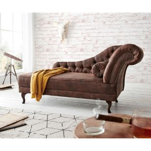 Chaiselongue Patsy Braun 185x75 cm Vintage Optik Chesterfield mit Kissen Recamiere - Bild 1