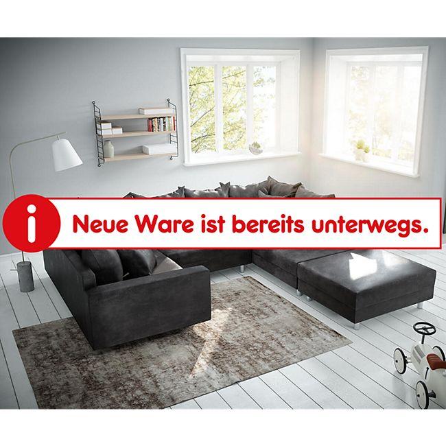 Couch Clovis Anthrazit Antik Optik mit Hocker und Armlehne Wohnlandschaft Modulsofa - Bild 1
