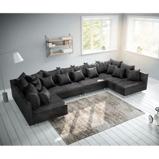 Couch Clovis XL Anthrazit Antik Optik Wohnlandschaft Modulsofa - Bild 1