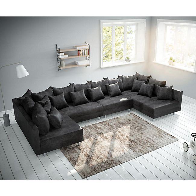 Couch Clovis XL Anthrazit Antik Optik Wohnlandschaft Modulsofa - Bild 1