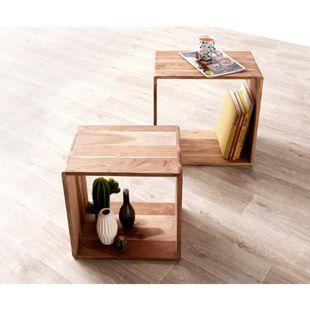 2er-Set-Würfelregal Eolo Akazie Natur 50x30 cm Massivholz Beistelltisch Cube - Bild 1