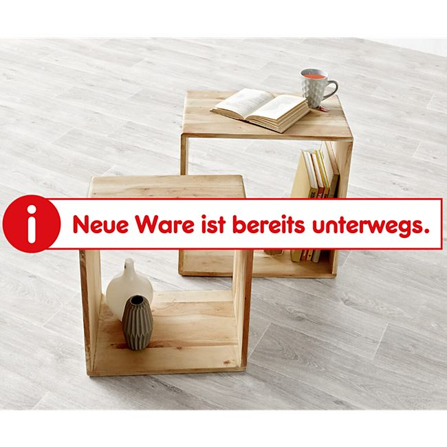 2er-Set-Würfelregal Eolo Akazie Gebleicht 50x30 cm Massivholz Beistelltisch Cube - Bild 1