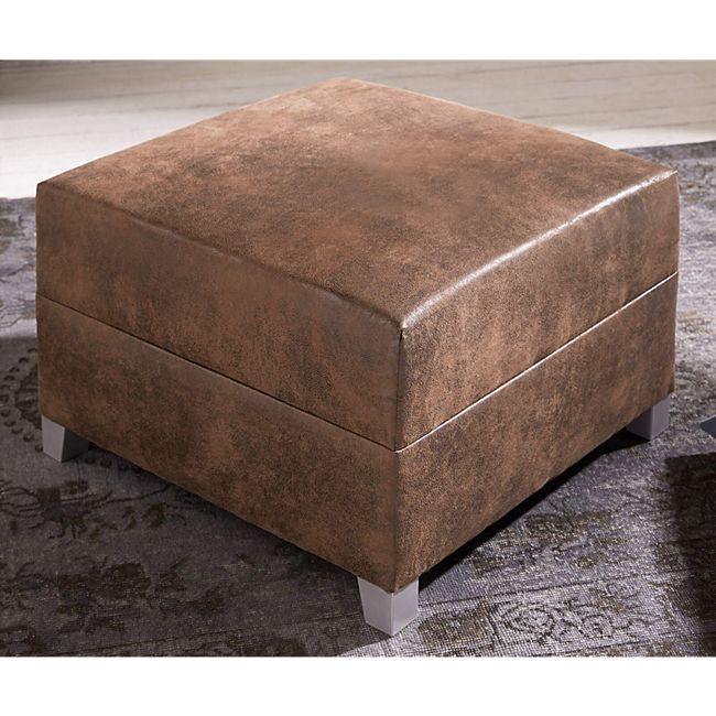 Sofa-Hocker Panama Braun Modul B72 x T72 Antik Optik Sitzhocker - Bild 1