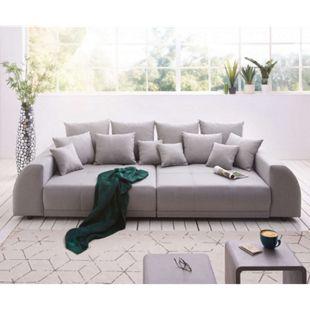 Bigsofa Violetta Grau 310x135 cm abgesteppt inklusive 12 Kissen Big-Sofa - Bild 1